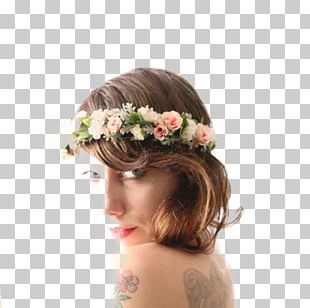 Cut Flowers Floral Design Headpiece Long Hair PNG