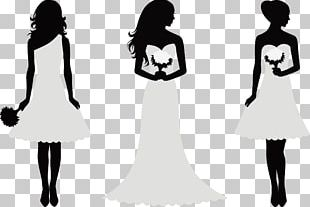 Decorative Silhouette Bride And Bridesmaids PNG