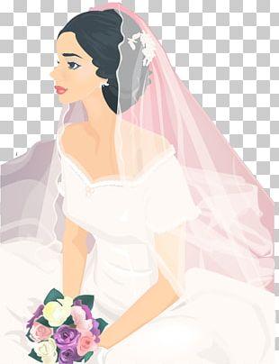 Bride Contemporary Western Wedding Dress Illustration PNG