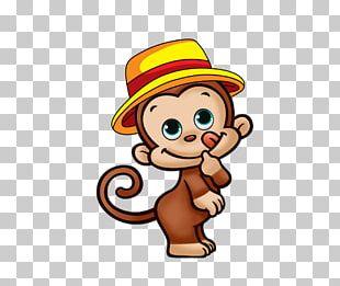 Monkey Cartoon Wedding Invitation PNG