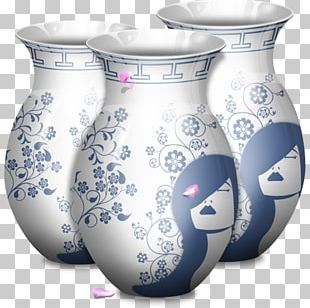 Blue And White Porcelain Ceramic Vase Glass PNG