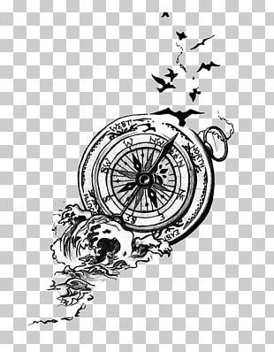 Bird Tattoo Artist Compass Idea PNG