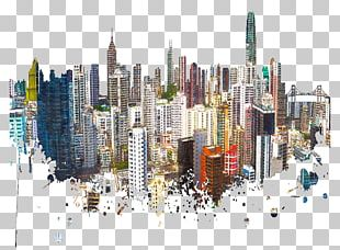 Hong Kong Skyline Watercolor Painting Poster Contemporary Art PNG