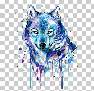 Gray Wolf Tattoo Watercolor Painting Drawing PNG