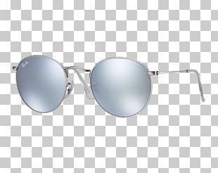 Ray-Ban Round Metal Aviator Sunglasses Clothing Accessories PNG
