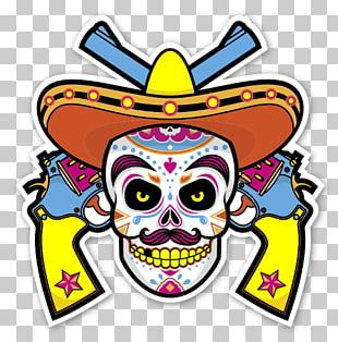 Mexican Cuisine Calavera Sticker Skull Decal PNG
