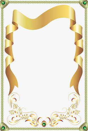 Gold Ribbon Border Green Gems PNG