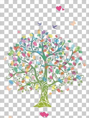 Fingerprint Tree Wedding Guestbook Coloring Book PNG