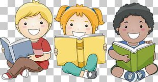 Child Reading Book PNG