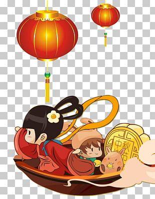 Mooncake Mid-Autumn Festival Change Moon Rabbit Cartoon PNG