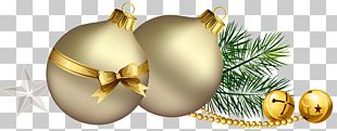 Christmas Balls With Pine Branch And Star PNG