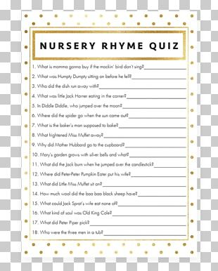 Nursery Rhyme Game Baby Shower Play PNG