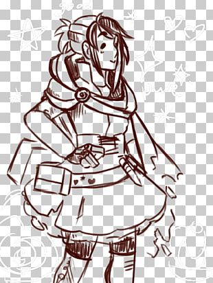 Woman Drawing Line Art PNG