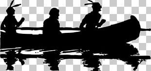 Silhouette Black And White Canoe PNG
