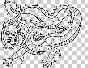 Line Art Chinese Dragon Drawing PNG