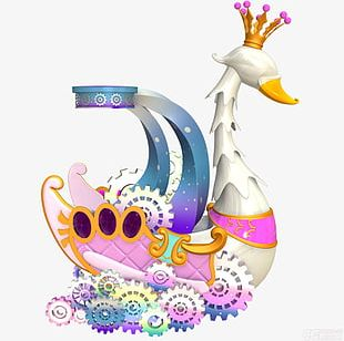 White Swan With Crown PNG