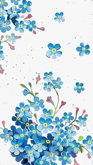 Blue Flower Illustration Background Material PNG