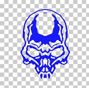 Skull Electric Blue PNG