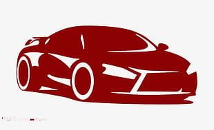 Wine Red Car Icon High-definition Buckle Material PNG