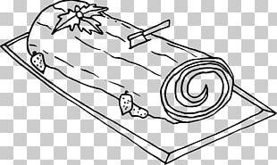 Yule Log Christmas Cake Line Art Drawing PNG
