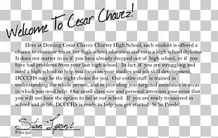 Deming Cesar Chavez Document Letter Head Teacher Handwriting PNG