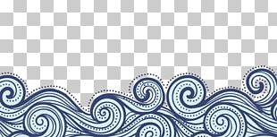 China Wind Blue Wavy Lines Texture Border PNG