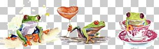 Tree Frog Watercolor Painting PNG