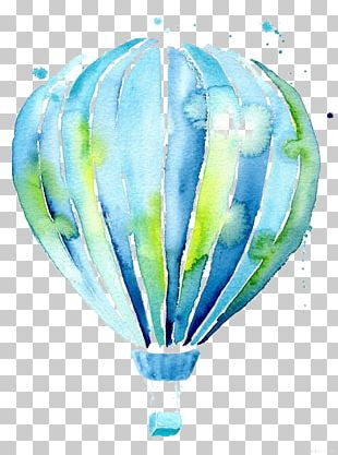 Hot Air Balloon Drawing Watercolor Painting Illustration PNG