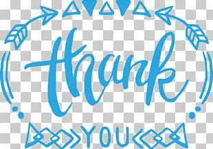 Sky Blue Geometric Border Thank You PNG