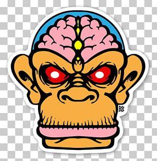 Sticker Decal Label Chimpanzee Monkey Brains PNG