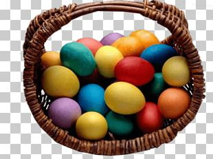 Basket With Coloured Easter Eggs PNG