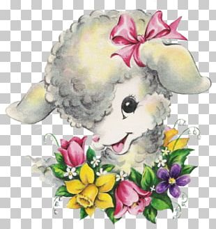 Floral Design Easter Holiday Greeting & Note Cards Sheep PNG