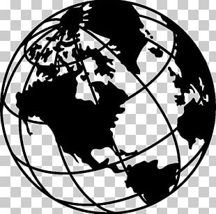 Globe Earth Black And White Drawing PNG