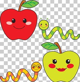Caramel Apple Worm Drawing Illustration PNG