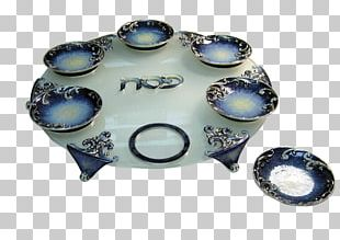 Ceramic Blue And White Pottery Cobalt Blue Platter Plate PNG