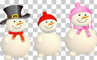Christmas Eve Snowman Family Illustration PNG