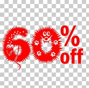Cute Hairy Halloween 60% Off Discount Tag. PNG