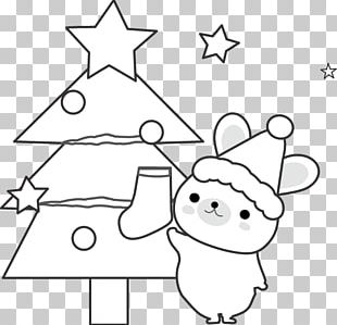 Christmas Tree Black And White. PNG