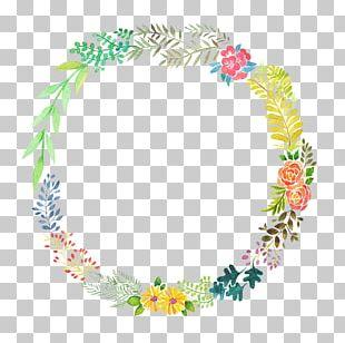 Floral Design Watercolor Painting Wreath Portrait PNG