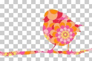 European Robin Bird Flower Floral Design PNG