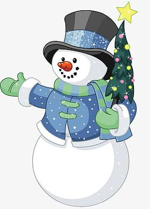 Snowman Holding Christmas Tree PNG