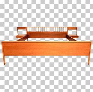 Bed Frame Bedside Tables Mid-century Modern Platform Bed PNG