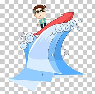 Surfing Flat Design Illustration PNG