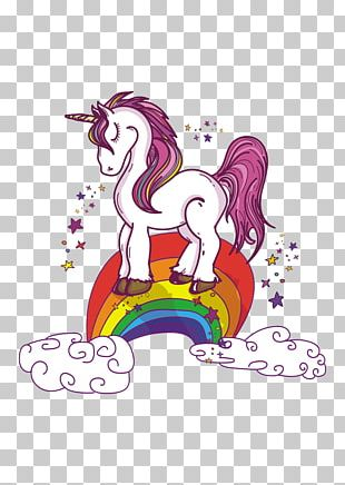 Unicorn Rainbow Illustration PNG