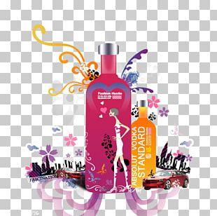Glass Bottle Purple Perfume Newspaper PNG