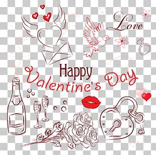 Valentine's Day Heart Gift Illustration PNG