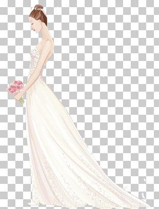 Wedding Dress Shoulder Party Dress Gown Bride PNG