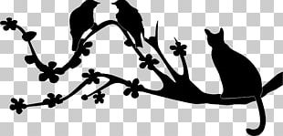 Bird Cat Silhouette Branch PNG
