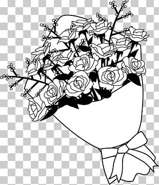 Black And White Rose Nosegay PNG