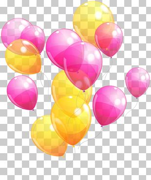 Balloon Party Pink Yellow Baby Shower PNG